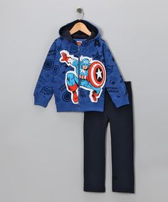 Take a look at this Blue 'Captain America' Zip-Up Hoodie & Pants - Toddler by Marvel on #zulily today!