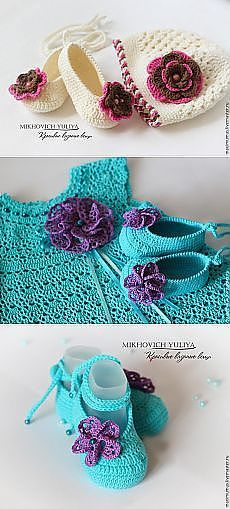 This Pin was discovered by Eli Crochet Baby Sandals, Baby Girl Crochet, Crochet Shoes, Love Crochet, Crochet For Kids, Crochet Clothes, Crochet Flowers, Knit Crochet, Crochet Slippers