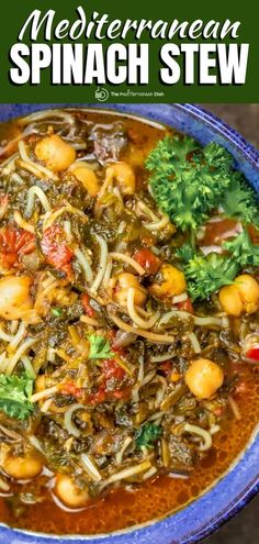 With chickpeas, spinach, tomatoes, and vermicelli this vegan spinach chickpea stew is delicious and satisfying, you won't miss the meat! Spinach Recipes, Vegetable Recipes, Soup Recipes, Vegetarian Recipes, Dinner Recipes, Cooking Recipes, Vegan Meals, Fall Recipes, Recipes