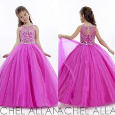 2016 Glitter Fuchsia Girl'S Pageant Dresses With Crystal Beaded Jewel Ball Gown Puffy Tulle Dresses For Pageant Little Flower Girl'S Dress Girls Chiffon Dresses Girls Dressed From Magicdress2011, $88.65| Dhgate.Com