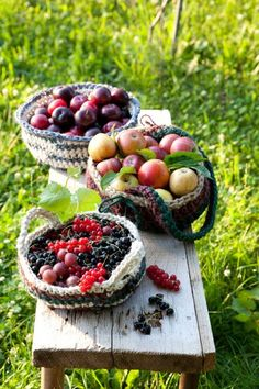 Baskets of berries and fruits ❤ ❤ ❤ Berry, Apple Season, Beautiful Fruits, Harvest Time, Delicious Fruit, Summer Fruit, Fruits And Vegetables, Country Life, Country Living