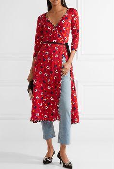 Marc Jacobs Flroal Print Silk Jacquard Wrap Dress