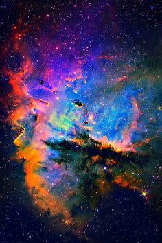 NGC 281--Pacman Nebula (enhanced colors) a region in the constellation Cassiopeia & part of the Perseus Spiral Arm. It includes the open cluster IC 1590, the multiple star HD 5005, & several Bok globules.
