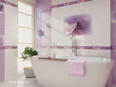 Clawfoot Bathtub, Purple Flowers, Countertops, Sweet Home, Wall Decor, Flooring, Interior Design, House, Alcove