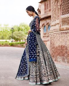 //Anita Dongre does it again with this gorgeous blue lehenga Beautiful. Pakistani Bridal, Bridal Lehenga, Pakistani Dresses, Indian Dresses, Indian Bridal Wear, Indian Wedding Outfits, Bridal Outfits, Indian Outfits, Bridal Dresses