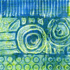 Printing with Gelli - great video to follow along with uses derwent ink pencils