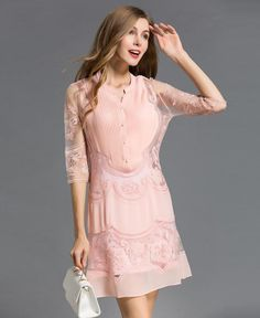 37616a69090 Designer Runway Women s Pleated Vintage Flower Embroidery Hollow Out  Delicate Dress