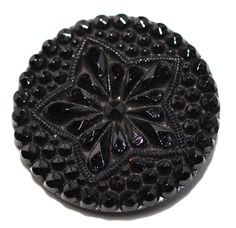 Button / Glass Black /  Lacy Star - Medium by HoppeEtc on Etsy