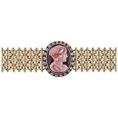 Victorian Diamond Gold Carved Hardstone Cameo Bracelet