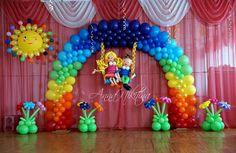 que lindo! Balloons And More, Rainbow Balloons, Big Balloons, Rainbow Theme, Rainbow Birthday, Birthday Balloons, Balloon Show, Love Balloon, Balloon Columns