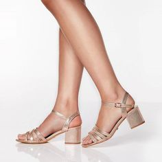Step out in style in these diamante sandals. Featuring a mid heel and buckle strap. Mid Heel Sandals, Mid Heel Shoes, Heels, Diamante Sandals, Debenhams, Espadrilles, Rose Gold, Fitness, Style
