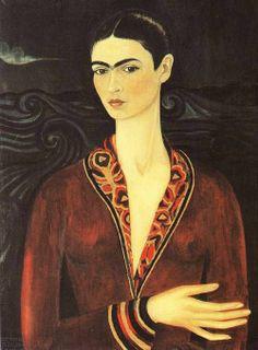"""Frida Kahlo """"Autoportret w aksamitnej sukni"""" Olej na płótnie 79 x 58 cm 1926 Private Collection Bequest of Alejandro Arias Mexico City"""