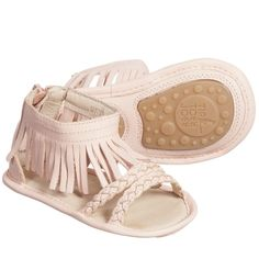 Baby Girls Pink Fringe 'Swoopy' Sandals, Tip Toey Joey, Girl