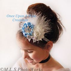 Blue & White Couture Feather Satin and Shabby Sparkle Headband - Newborn Baby Birthday Costume Hairbow - Little Girls Luxe Glitter Hair Bow