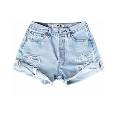 THE DENIM CORNER (490 GTQ) ❤ liked on Polyvore featuring shorts, bottoms, clothing - shorts, cut off jean shorts, distressed jean shorts, denim jean shorts, cut off shorts and levi shorts