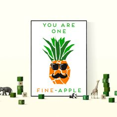 Fun and fruity art print, perfect for decorating a kids bedroom with, a cool hanging wall poster that looks great framed. Fine Apple, Pineapple Art, Bedroom Posters, Poster Wall, Kids Bedroom, Decorating, Art Prints, Frame, Fun