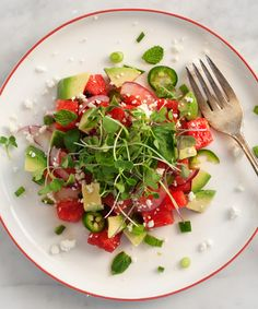 I ordered a watermelon salad at a restaurant a few weeks ago. In my mind I thought it would taste similar to this, but it didn't and I was disappointed. Does that ever happen to you? I mean, $16 for a plate of nearly-plain cubed watermelon? Come on.