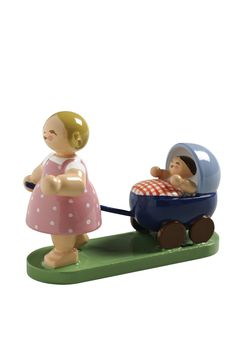 """Wendt and Kühn's Girl with a Baby Doll Buggy (Stroller) - a member of the Children's Parade 2"""" tall Spring Collection WK no. 541/0/2 with a Wendt and Kühn Presentation / Gift Box Made in Germany _____"""