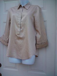 ESCADA SPORT SZ 38 TOP 1/2 Button Front Shirting French CUFF 100% Cotton GOLD | eBay