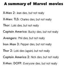 Marvel movie summaries.