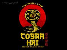 Strike First Funny Stickers, Custom Stickers, Cobra Kai T Shirt, Cobra Kai Wallpaper, Cobra Kai Dojo, Day Of The Shirt, Thing 1, Hanging Frames, Miyagi