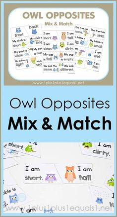 Owl Opposites Mix and Match Printables ~ what a fun way to teach opposites! Adorable owls showing many different opposite words {hot - cold, short - tall, wet - dry and many more!} These FREE owl printables are great for early childhood education! Opposites Game, Opposites Preschool, Language Activities, Classroom Activities, Preschool Activities, Early Learning, Kids Learning, Early Childhood Education Programs, Opposite Words