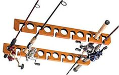 Ceiling Rod Rack Fishing 11 Poles Holder Fish Storage Rod Reels Garage Wood New