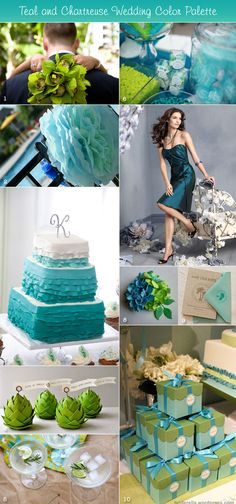 Teal and chartreuse bouquets, paper pompoms, ombre cake, favor boxes with teal ribbon