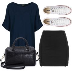 A fashion look from April 2014 featuring Topshop t-shirts, Topshop mini skirts and Converse sneakers. Browse and shop related looks.