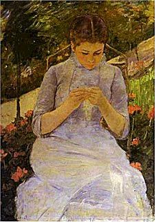 Mary Cassatt Young Girl in the Garden, Woman Sewing, c.1880