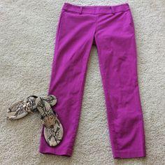 "HPAnn Taylor Chelsea crop pants Gorgeous magenta color Chelsea crops by Ann Taylor. Flat front with hidden side zip. 98 cotton 2 spandex. Laying flat waist is approx 15"" across. Hips approx 18"" across. Approx 26"" inseam. Size 2. Excellent condition. Ann Taylor Pants Ankle & Cropped"