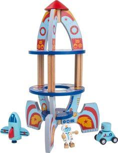 Raket met speelfiguren (hout)