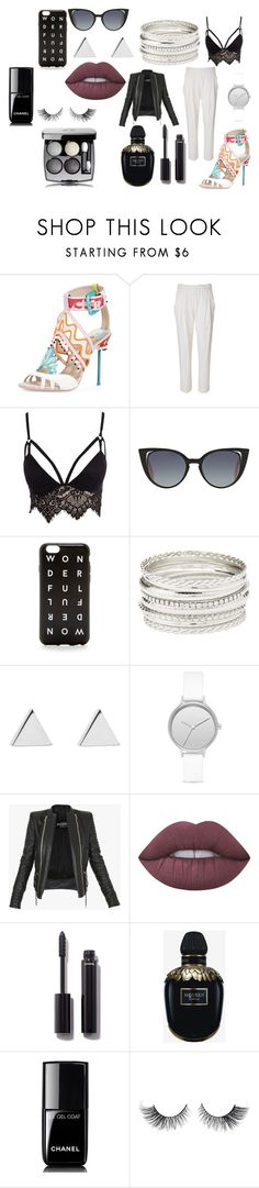 """black"" by mirela-r13 on Polyvore featuring 3.1 Phillip Lim, Club L, Fendi, J.Crew, Charlotte Russe, Jennifer Meyer Jewelry, Skagen, Balmain, Lime Crime and Chanel"