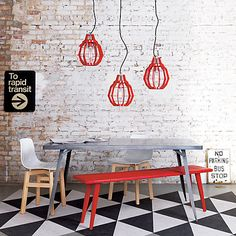 baja red bench in dining chairs, barstools | CB2. With the hairpin dining table.