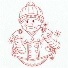 Premium Embroidery Embroidery Design: Redwork Snowman 3.80 inches H x 3.23 inches W