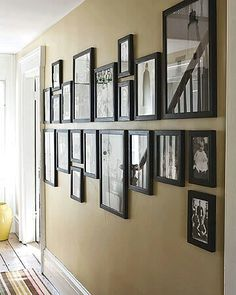 Family Photo Wall Display: Photo Wall Display Ideas Looks like the frames are either hanging or sitting on a shelf