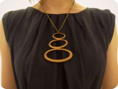 '3 stones' statement necklace. Wooden necklace by One Happy Leaf. All wood is Forest Stewardship Council certified.