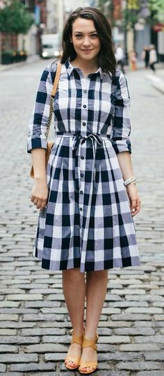 Checkered simple dress for office