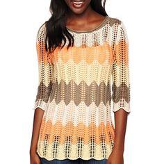 St. John's Bay® 3/4-Sleeve Crochet Pullover- Petites - jcpenney