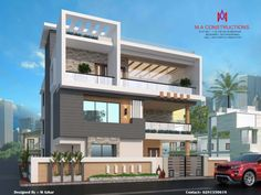 Exteriors and architectural asian style houses by m.a constructions asian Gate Wall Design, Front Wall Design, House Fence Design, 3 Storey House Design, Two Story House Design, Bungalow House Design, Modern Exterior House Designs, Modern House Design, Exterior Design