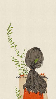 Illustration Hand Watercolor The little girl Girl back Cute Wallpaper Backgrounds, Cute Wallpapers, Art Drawings Sketches, Cute Drawings, Illustrations, Illustration Art, Sunflower Wallpaper, Anime Art Girl, Cartoon Art