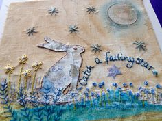Hand embroidered hare