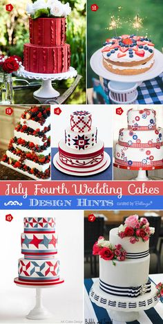 Red White and Blue Wedding Ideas - July 4th Wedding Cakes Inspiration from Colorful to Americana-inspired to Modern Styles