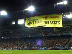 Greenpeace shows Gazprom the red card at the Champions Leagues Game in Switzerland