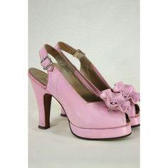 8cddbdb8c2e RESERVED Vintage 1940 s Cherry Blossom Peep Toe Platform Slingbacks... ❤  liked on Polyvore. 1950s ShoesRetro ...