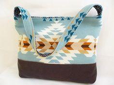 Geometric Wool and Leather Tote Bag Casual Boho by RainGirlDesigns