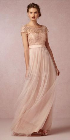 Lace Sheer Scoop Neck 2015 Bridesmaid Dresses with Illusion Sleeve Backless Tulle Ribbon Long Maid of Honor Beach Wedding Gowns Cheap Blush