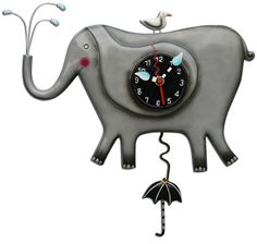 Happy Grey Elephant wall clock. Is it rainging? Don't worry, Mr. Elephant's got your umbrella ready. (Umbrella pendulum swings back and forth.) Hand painted, resin, Allen Design wall clocks are $59 each at Quirks of Art. Visit our online shop to see the current collection!