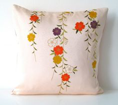 Decorative Pillow Cushion Cover in a Spring Floral Vintage Japanese Kimono Silk £25.00