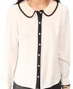 Contrast Peter Pan Collar Shirt | FOREVER 21 - super love this!